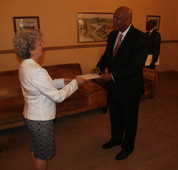 H.E. Ambassador Barbier presented her credentials to King Letsie III - JPEG