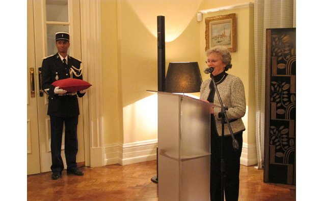 "The Ambassador bestowed the award of ""Chevalier de la Légion d'Honneur"" upon Ms Monhla Hlahla"