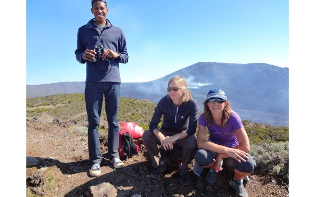 Malick Bill and QualiSud researchers at Piton de la Fournaise, Réunion island